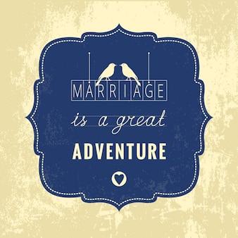 Casamento cartão vintage vector com citação
