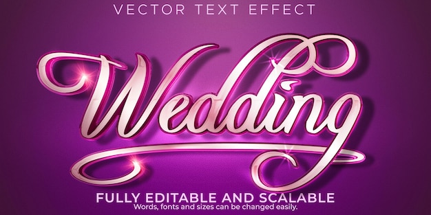 Casamento casamento casamento efeito de texto editável noiva e estilo de texto elegante