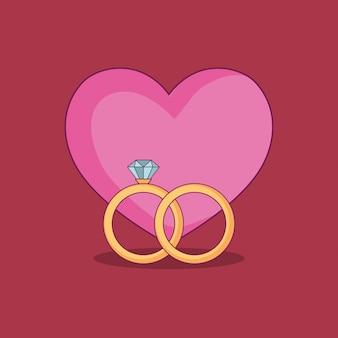 Casamento com anéis de noivado