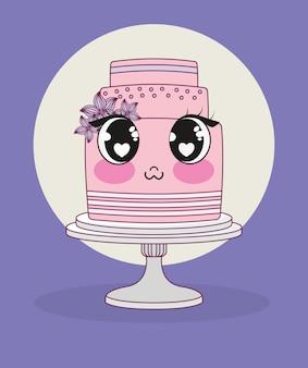 Casamento com bolo kawaii personagem