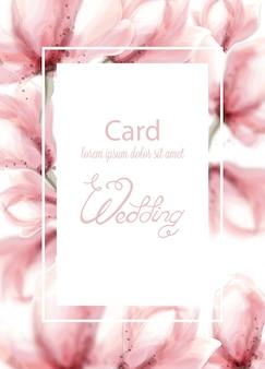 Casamento com flores rosa em aquarela