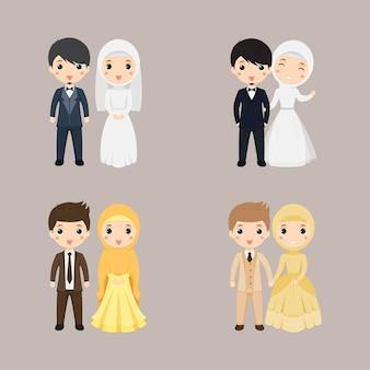 Casamento de casal muçulmano fofo