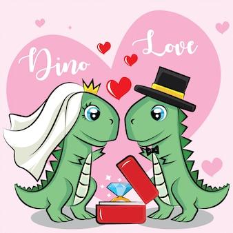 Casamento de dinossauro com anel de diamante