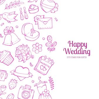 Casamento de doodle com ilustração copyspace
