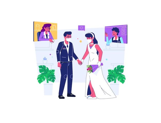 Casamento de homem e mulher usam máscara durante covid19 situação de pandemia estilo cartoon plana