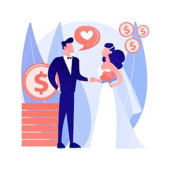 Casamento de ilustração em vetor conceito abstrato de conveniência. casamento político, motivação financeira, velho marido rico, anéis de casamento, notas de dólar, tirar dinheiro da metáfora abstrata sênior.