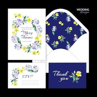 Casamento de vetor definido com ilustração floral em aquarela. convite de casamento, cartão de agradecimento, envelope e cartão de rsvp.