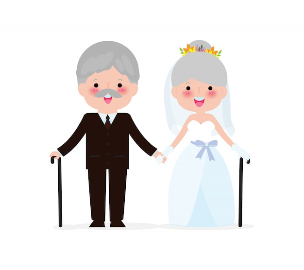 Casamento do conceito de pessoas idosas. último homem e mulher apaixonada. lindo casal de namorados dia dos namorados. casamento dourado isolado na ilustração branca do fundo.