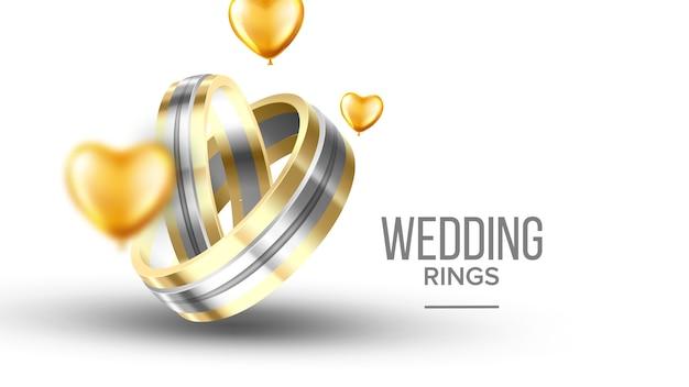 Casamento dourado com banner de anéis de platina