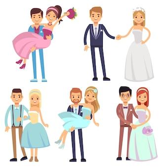 Casamento feliz sorridente casais isolados vector set.