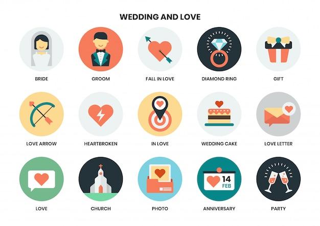 Casamento icon set