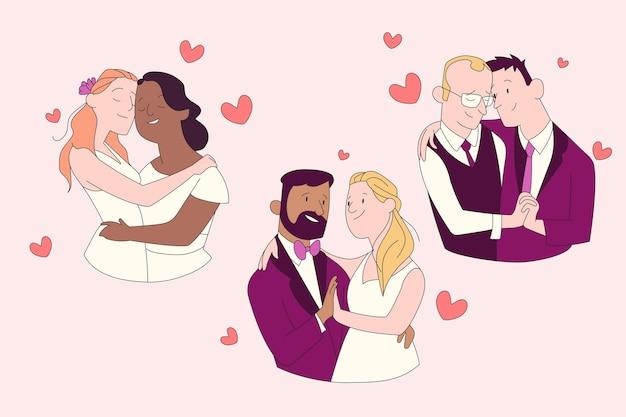 Casamento juntos casal heterossexual e homossexual
