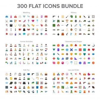 Casamento, militar, atividade humana e brinquedos para bebês 300 flat icons bundle