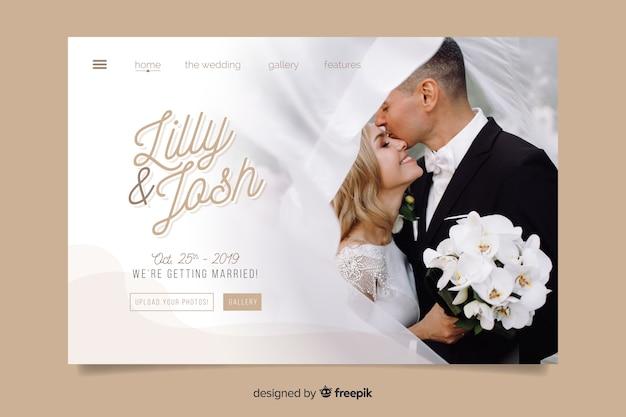 Casamento na página de destino com foto