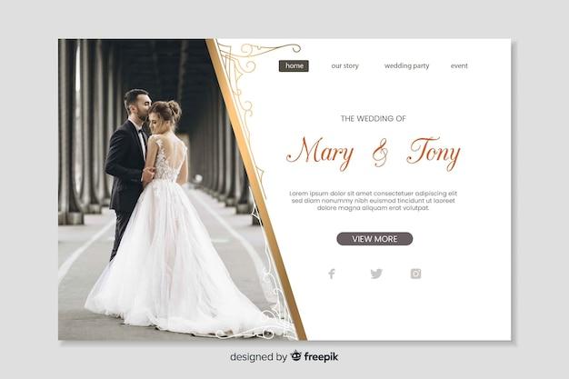 Casamento na página de destino com modelo de foto