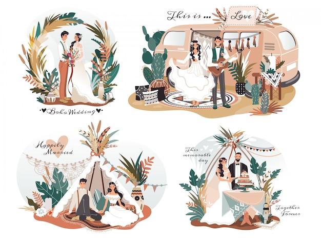 Casamento no estilo boho, personagens de desenhos animados de casal romântico, ilustração