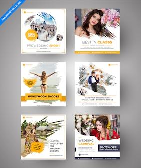 Casamento paralaxe amarelo & mídia social e banners web multiuso para marketing digital