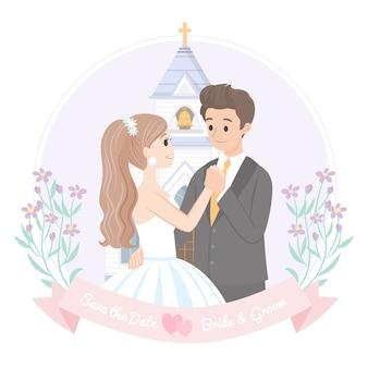 Casamento romântico dançando com a igreja