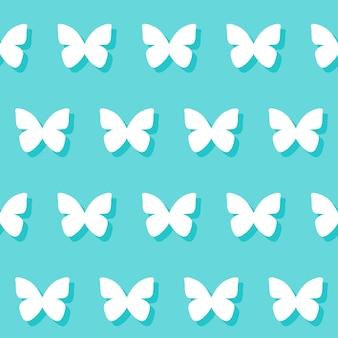 Casamento romântico decorativo sem costura de fundo com desenho de borboleta isolado em um fundo azul elegante