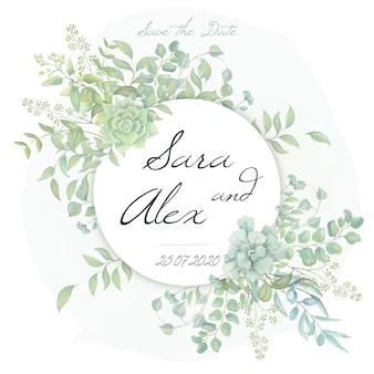 Casamento salvar o cartão de data com folhas verdes em aquarela
