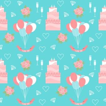 Casamento sem costura de fundo com bolos e desenhos animados suaves de elementos decorativos românticos isolados no elegante azul para uso em design de cartão, convite, cartaz, banner, cartaz, capa de outdoor