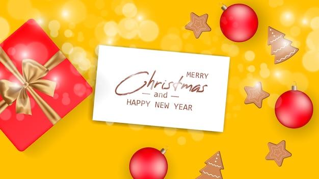Casar com o cartão de natal e feliz ano novo. banner de natal.