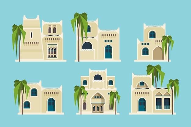 Casas árabes antigas. antigos edifícios de tijolos muçulmanos tradicionais do deserto coleção plana de mesquita de objetos arquitetônicos.