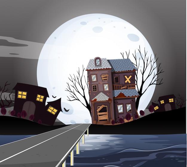 Casas assombradas na noite de fullmoon