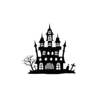 Casas assombradas para castelos de halloween com monstros peneiras de casas pretas ilustração vetorial para crianças