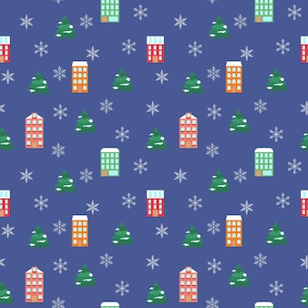 Casas brilhantes e flocos de neve sem costura de fundo festivo de natal com pinheiros