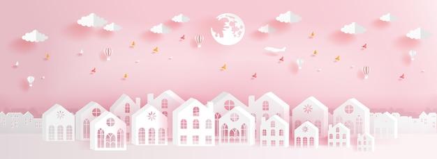 Casas cheias de cor em estilo de corte de papel