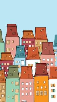 Casas coloridas cidade velha vintage vila fina linha