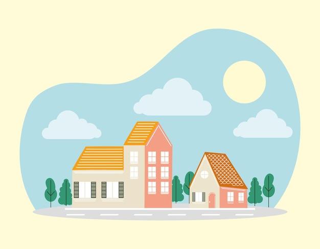 Casas com árvores na frente do projeto da estrada, tema de construção de imóveis residenciais.