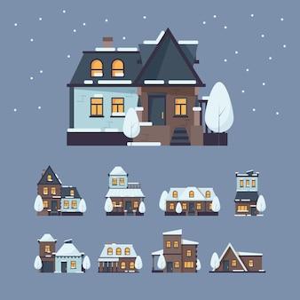 Casas congeladas. edifícios de inverno com tampa de neve de flocos de neve incríveis vetor de edifícios de decoração.