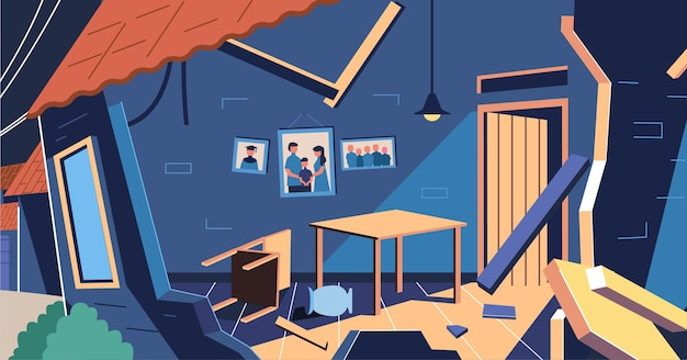 Casas danificadas pelo terremoto