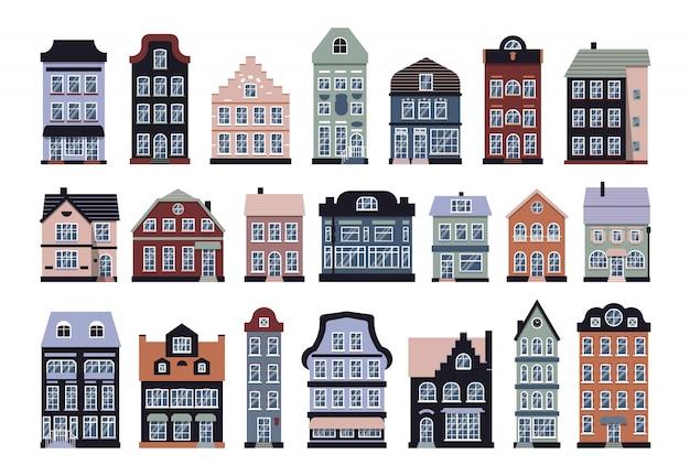 Casas de amsterdã conjunto de desenhos animados. moradia de ícone gráfico, estilo europeu. casa de campo urbana e suburbana plana. isolado no edifício da cidade de arquitetura diferente branco