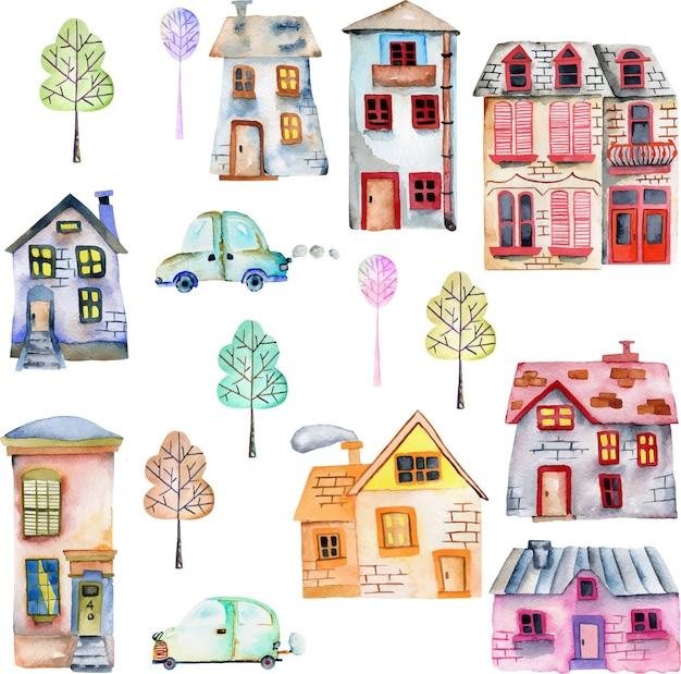 Casas de aquarela bonito dos desenhos animados, carros e árvores