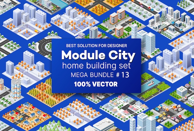 Casas de arquitetura de conjunto isométrico