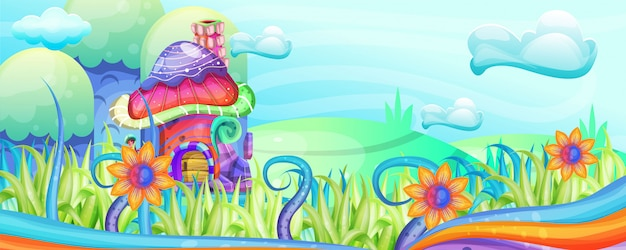 Casas de cogumelos na ilustração jardim
