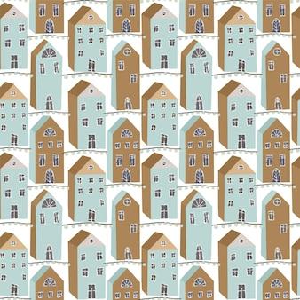 Casas de férias escandinavas fofas sem costura padrão impressão de inverno