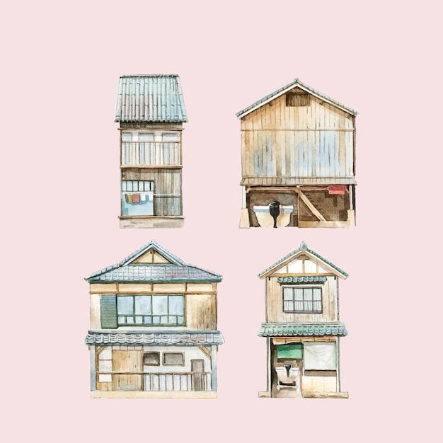 Casas de funaya no vetor de japão de prefeitura de kyoto