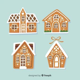 Casas de gengibre de mão desenhada