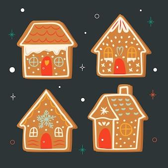 Casas de gengibre em uma noite estrelada