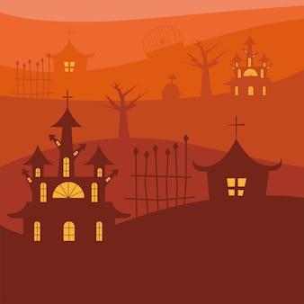 Casas de halloween com portão em design de fundo laranja, tema assustador