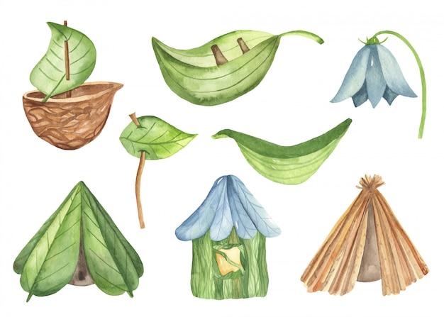 Casas de inseto bonito dos desenhos animados e barcos de plantas