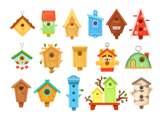 Casas de pássaro decorativo primavera de madeira. birdhouses de jardim para alimentar pássaros.