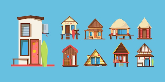 Casas de praia de madeira conjunto de ilustrações vetoriais plana