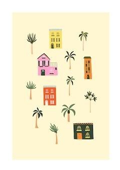 Casas de verão bonitos na praia com palmeiras. modelo de estilo escandinavo higge aconchegante para cartão postal, cartão postal, design de camiseta. ilustração vetorial em estilo cartoon desenhado à mão plana