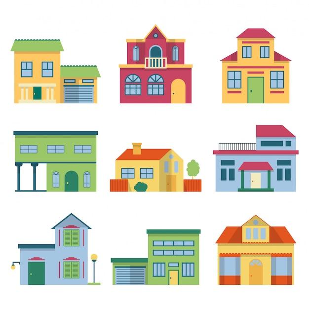 Casas diferentes coloridas com fachada moderna