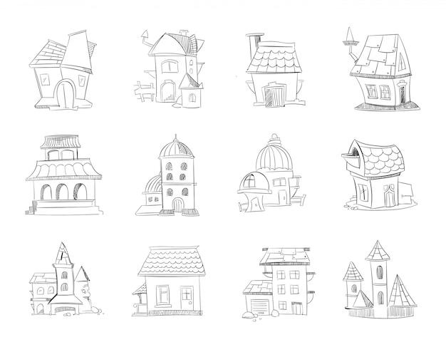Casas diferentes de desenhos animados de mão desenhada